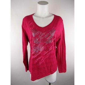 Hanes Cotton Scoop Neck Butterfly T-Shirt Top